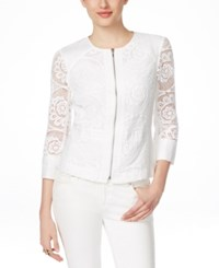 Inc International Concepts Petite Crochet Lace Zip Front Jacket Only At Macy's Bright White
