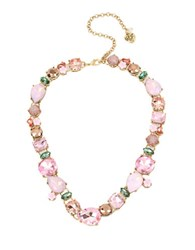 Betsey Johnson Mixed Faceted Stone And Flower Collar Necklace Multi