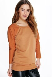Boohoo Donna Raglan Sleeve Contrast Sweat Chestnut