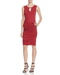 Velvet By Graham And Spencer Keyhole Ruched Dress Red