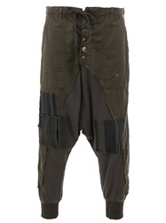 Greg Lauren Patchwork Tapered Trousers Brown