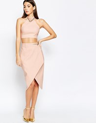 Rare London Asymmetric Midi Skirt With Chain Detail Pink