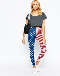 American Apparel Spandex Retro Leggings In American Flag Print Rwbstarsstripes