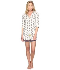 Lucky Brand Boyfriend Shorty Set Ivory Deco Floral Women's Pajama Sets White