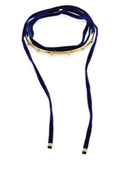 Lizzie Fortunato Ballerina Mother Of Pearl Cabochon And Velvet Wrap Choker Navy