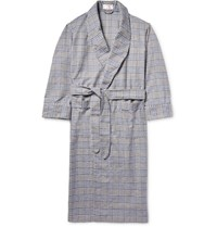 Emma Willis Checked Brushed Cotton Robe Blue