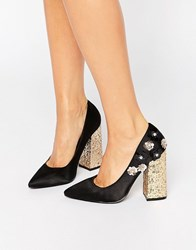 Daisy Street Flower Glitter Point Heeled Shoes Black Microfibre Multi