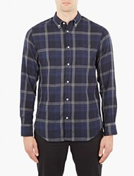 Officine Generale Navy Button Down Plaid Shirt