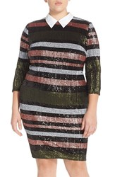 Plus Size Women's Eloquii Sequin Stripe Dress