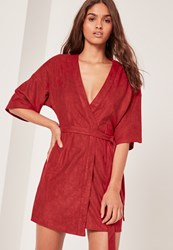 Missguided Faux Suede Kimono Dress Red