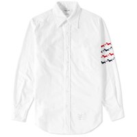 Thom Browne Hector Embroidered Arm Stripe Shirt White