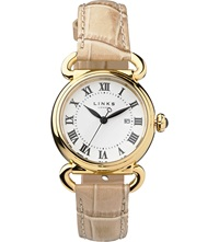 Links Of London Driver Yellow Gold Plated Watch Tan