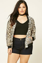 Forever 21 Plus Size Leopard Bomber Ivory Tan