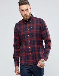 Barbour Shirt In Seth Check In Tailored Slim Fit In Red Rich Red