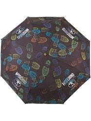Moschino Boot Print Mini Umbrella Black