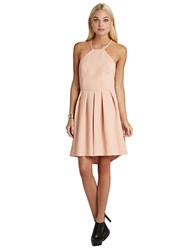 Bcbgeneration Lace Trim Pleated High Low Dress Blush