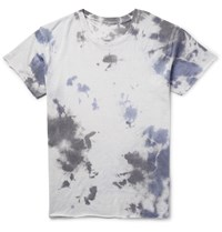 The Elder Statesman Tie Dyed Cashmere And Silk Blend T Shirt Light Gray