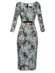 Erdem Tess Field Flower Print Ponte Dress Blue Print