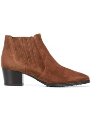 Tod's Pointed Toe Chelsea Boots Brown