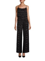Laundry By Shelli Segal Platinum Beaded Jumpsuit Black
