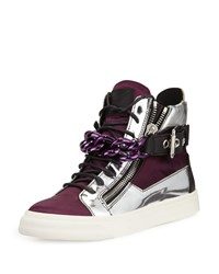 Giuseppe Zanotti Chain Satin High Top Sneaker Purple