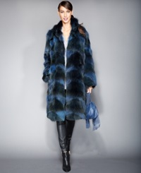 The Fur Vault Pieced Coyote Fur Coat Blue