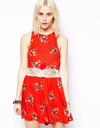 Minkpink Flower Posy Print Playsuit With Lace Insert Multi