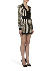 Balmain Stripe Knit Long Sleeve Dress Black Gold