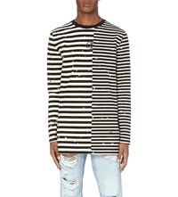 Off White C O Virgil Abloh Striped Cotton Jersey Top Black