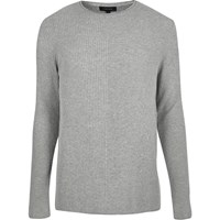 River Island Mens Light Grey Plain Knitted Jumper