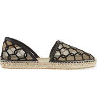 Jimmy Choo Dreya Embroidered Espadrilles Black