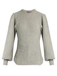 Yohji Yamamoto Bishop Sleeved Wool Sweater Light Grey