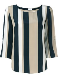 Akris Punto Striped Relaxed Fit Blouse Black