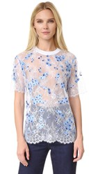 Carven Lace T Shirt White Blue