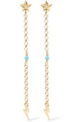 Ileana Makri Star Thunder Gold Plated Cubic Zirconia And Turquoise Earrings