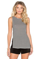 Nightcap Silk Stripe Side Knot Tank Black