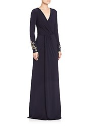 David Meister Draped Jersey Gown Navy