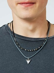 Topman Black. Multi Row Triangle Pendant Necklace 2 Pack