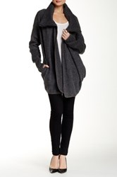 Luma Side Zip Wool Blend Sweater Coat Gray