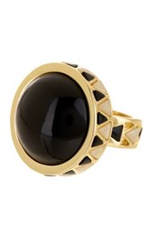 House Of Harlow Black And White Enamel Dome Ring Size 8 Metallic