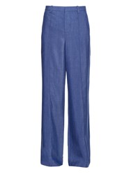 Vince High Rise Wide Leg Chambray Trousers