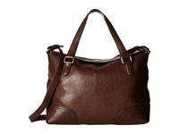 Frye Claude Satchel Chocolate Tumbled Full Grain Satchel Handbags Brown