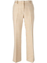 Au Jour Le Jour Checked Straight Leg Trousers Nude And Neutrals