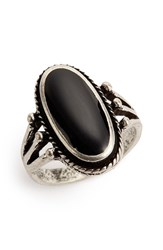 Women's Bp. Oval Stone Ring Black Silver Black Silver