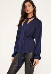 Missguided Blue Hammered Satin Tie Neck Blouse Navy