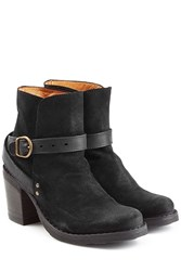 Fiorentini Baker And Suede And Leather Buckle Strap Ankle Boots Black