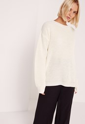 Missguided Waffle Knit Crew Neck Jumper Ivory