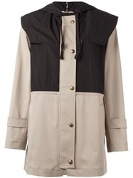 Sonia Rykiel By Buttoned Hooded Coat Nude Neutrals