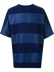 Juun.J Striped Oversized T Shirt Blue