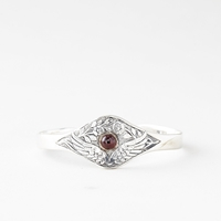 Talon Feather And Flower Cuff Garnet Silver